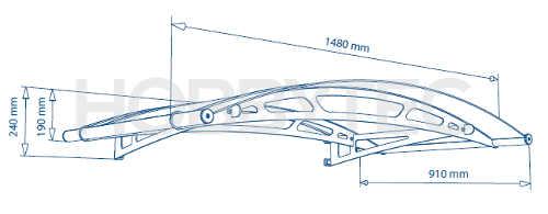 Technický nákres vchodové stříšky Leo