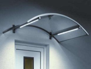 Oblouková vchodová stříška se zabudovaným LED osvětlením