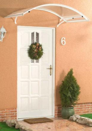 Oblouková stříška nad dveře z práškově lakovaného hliníku